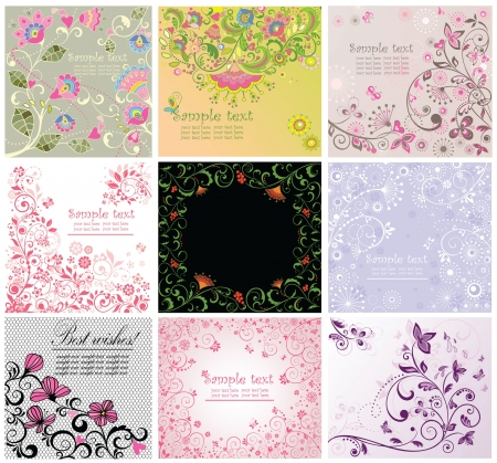 Greeting floral cards Vector