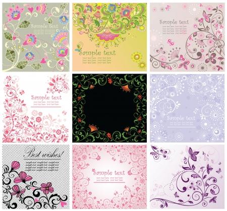 Greeting floral cards Illustration