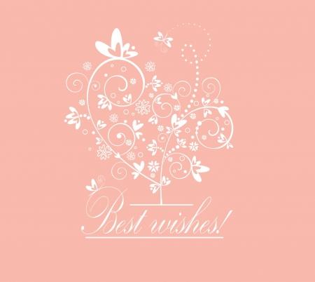 deseos: Tarjeta preciosa con el �rbol Vectores