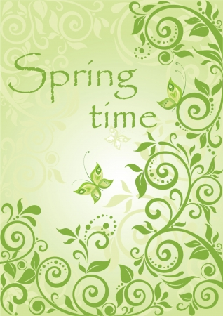 Spring green vertical banner Vector