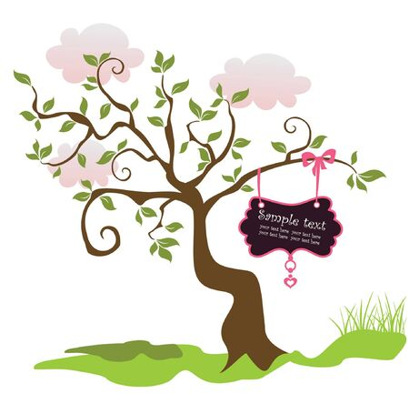 Vintage card with greeting tree Vector