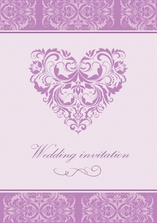 lilac background: Wedding vintage invitation Illustration