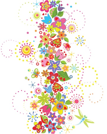 Abstract seamless floral border Vector