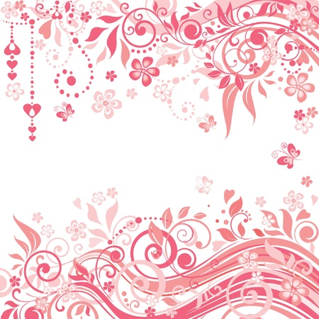 Beautiful greeting pink background Vector