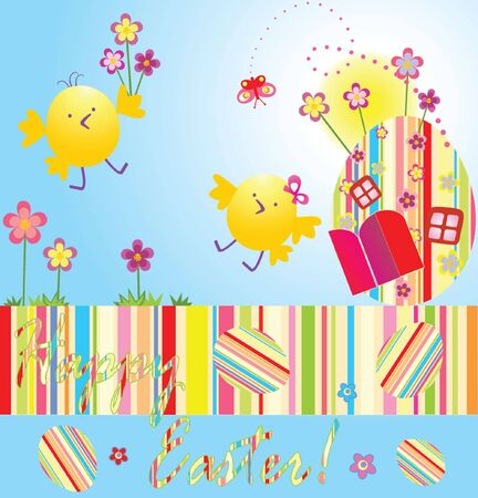Easter card with chicken Vector