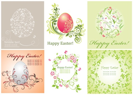 Easter decorative floral cards Vector