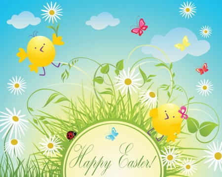 easter chick: Easter greeting card Illustration