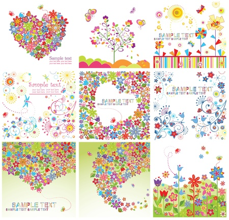 flores: Funny greeting cards Illustration