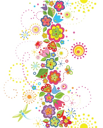 flower clip art: Funny seamless floral background