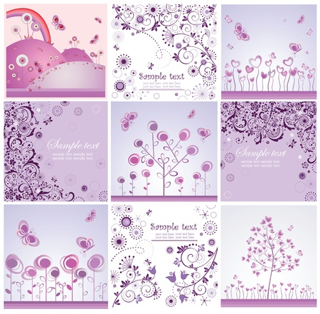 Funny violet cards Vector