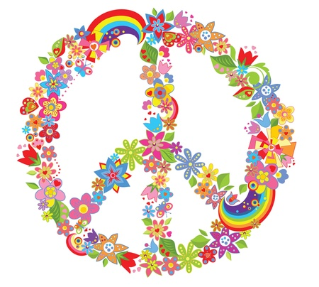 peace and love: Peace flower symbol Illustration