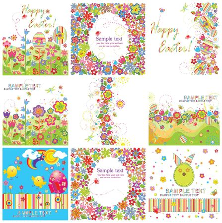 Set of easter greeting cards Vector