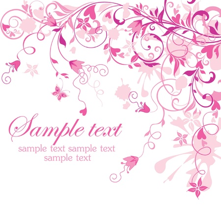 Vintage floral pink card Stock Vector - 18806715