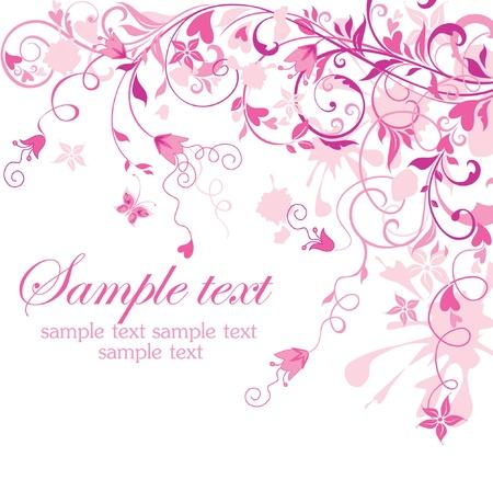 Vintage floral pink card Stock Vector - 18806715