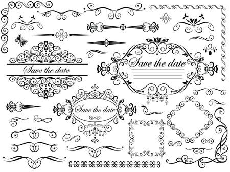 esquineros de flores: Vintage elementos de la boda del dise�o Vectores