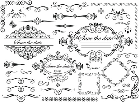 Vintage wedding design elements Illustration