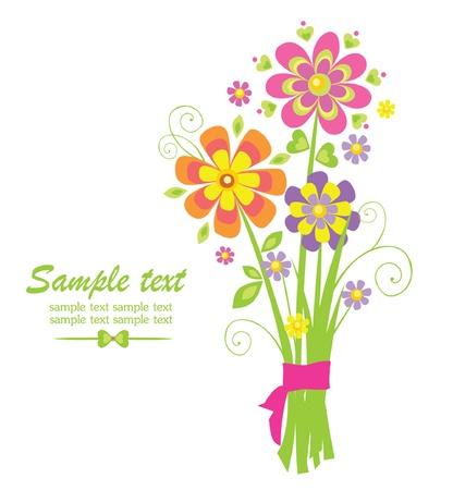 flores de cumplea�os: Ramo de felicitaci�n divertida Vectores