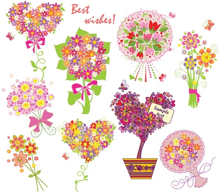 Greeting bouquets Vector