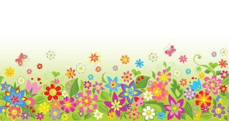 flowers cartoon: Seamless funny floral background Illustration