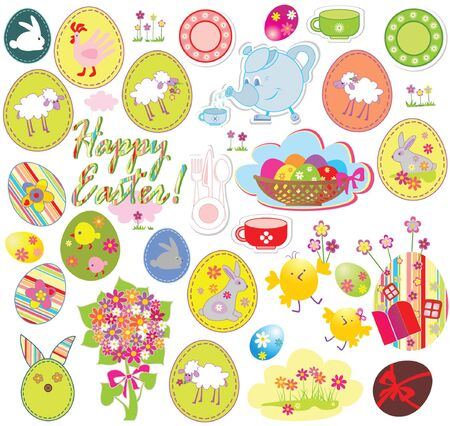 Set of easter labels Vector