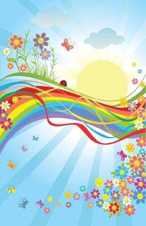 Spring colorful banner Vector