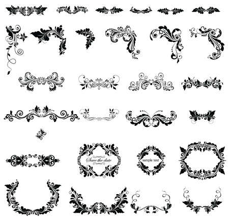 Floral adornment (black and white) Vector