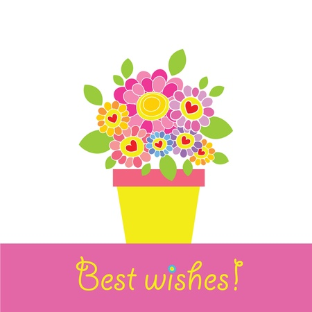 Greeting card with flowerpot and daisy Stock Vector - 18806697