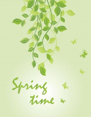 Spring green floral banner Vector