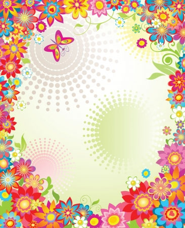 flores: Summer banner with colorful flowers