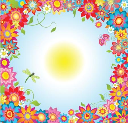 herbal background: Summer flowers