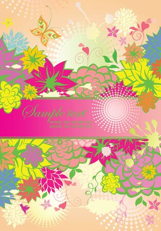 summery: Vertical banner with summery flowers Illustration