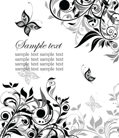adornment: Vintage floral black and white background