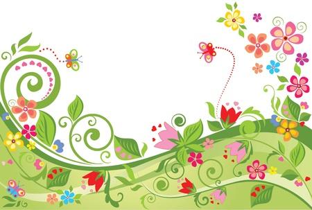 pink border: Floral summer background