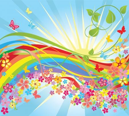 Flowers and rainbow Vector