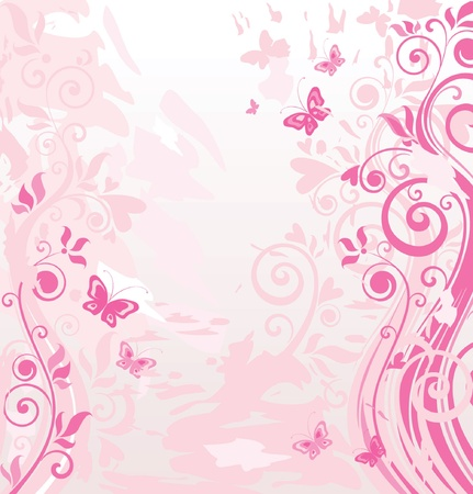 rose butterfly: Pink border