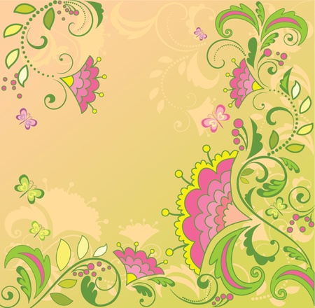 Retro floral card Stock Vector - 18804073