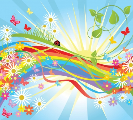 rainbow sky: Summer colorful background