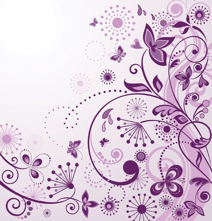 purple lilac: Vintage greeting violet card