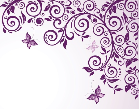purple butterfly: Violet floral card