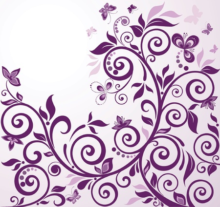 Violet vintage floral card Illustration