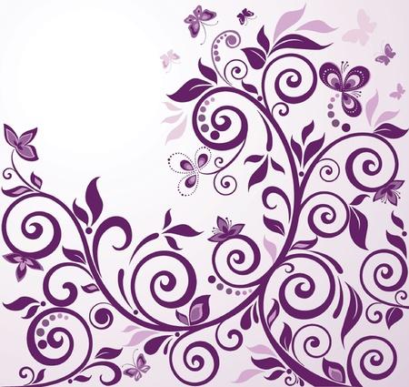 purple floral: Violet vintage floral card Illustration