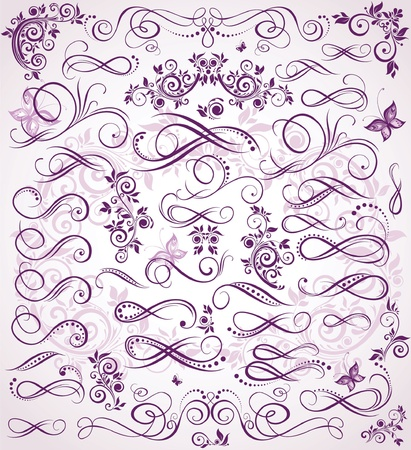 purple swirls: Violet wedding stencil