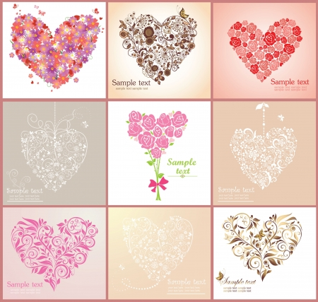 Beautiful greeting cards with hearts Stock Vector - 18838346