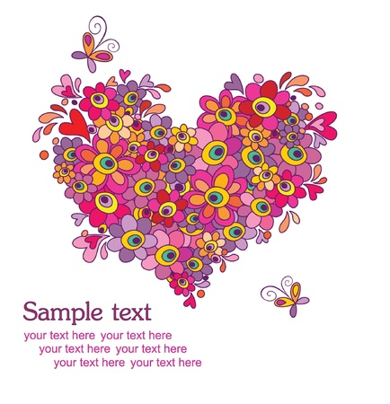 cartoon bouquet: Card with funny greeting heart