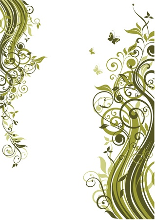 Green floral template Vector