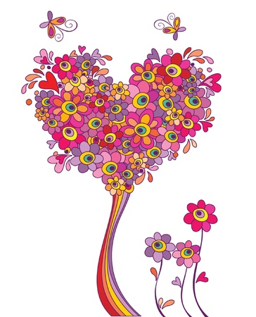 peace and love: Postcard with funny greeting tree