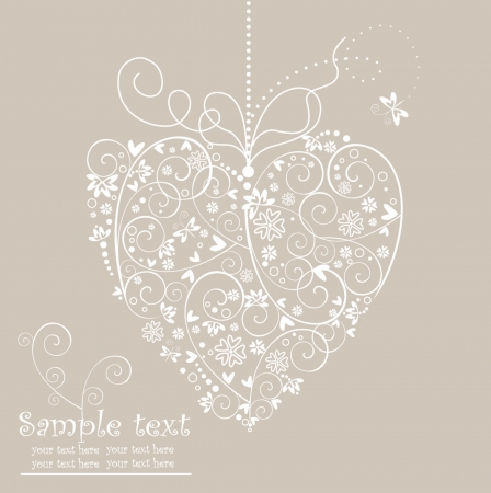 Retro postcard with heart shape Stock Vector - 18838264