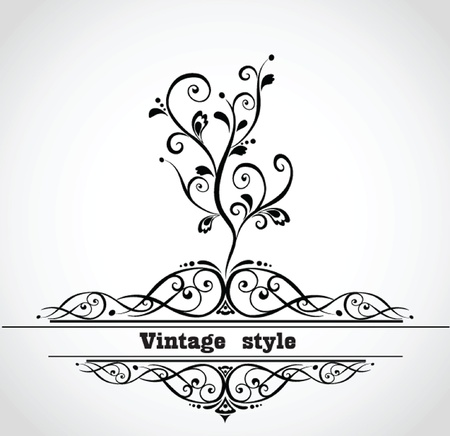 Vintage card with decorative tree Vector