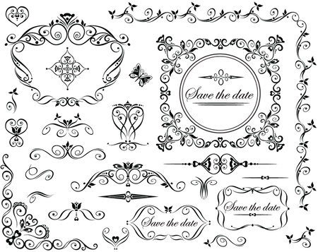 corner ornament: Wedding retro design