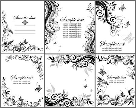 cute border: Set di banner floreale in bianco e nero Vettoriali